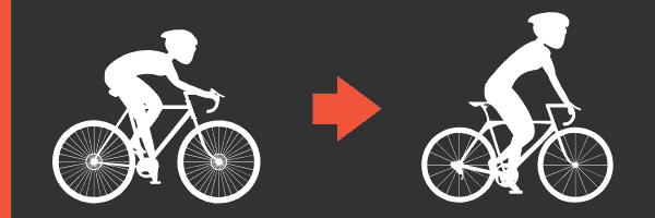 Fahrradfahren sitzen und stehend