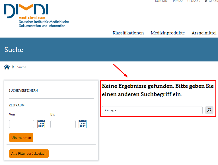 Screenshot zeigt Kamagra ist illegal in Deutschland