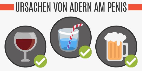 Alkohol für sichtbare Adern am Penis
