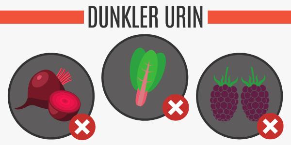 Dunkler Urin durch Lebensmittel