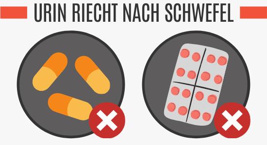 Medikamente und Supplemente können zu einem schwefelartigen Uringeruch führen