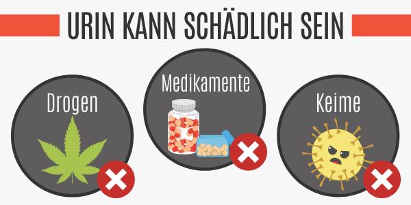 Urin kann Drogen, Medikamente und Keime enthalten